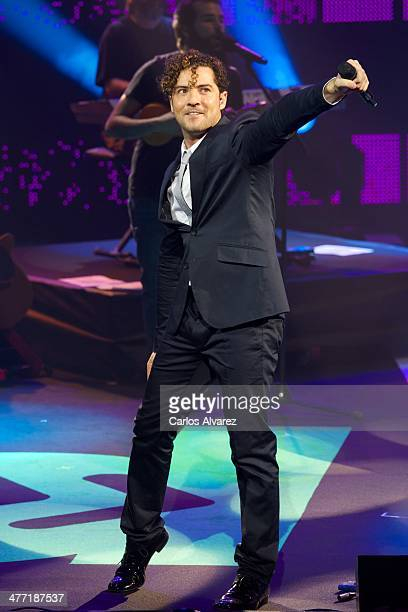 Spanish singer David Bisbal performs on stage during the Cadena Dial 2013 awards at the Miguel Delibes auditorium on March 7 2014 in Valladolid Spain