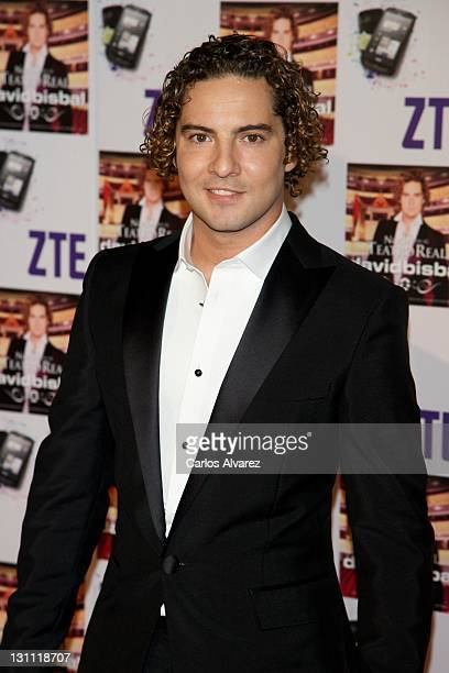 Spanish singer David Bisbal poses for the photographers before his concert at the Royal Theater on November 1 2011 in Madrid Spain
