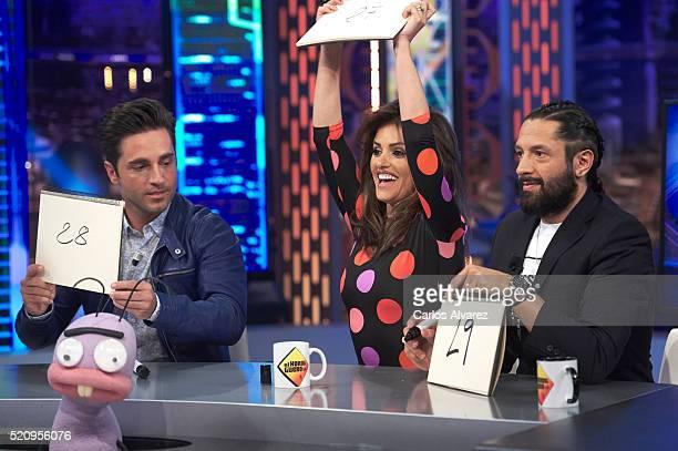 Spanish singer David Bustamante Spanish actress Monica Cruz and Flamenco dancer Rafael Amargo attend El Hormiguero Tv Show at Vertice Studio on April...