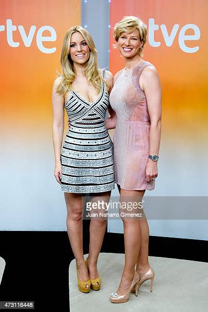 Spanish singer Edurne and Anne Igartiburu attend a press conference before Eurovision Gala at Torrespana on May 13 2015 in Madrid Spain