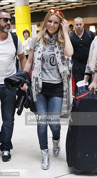 Spanish singer Edurne arrives at Madrid after Eurovision Song Contest 2015 on May 24 2015 in Madrid Spain