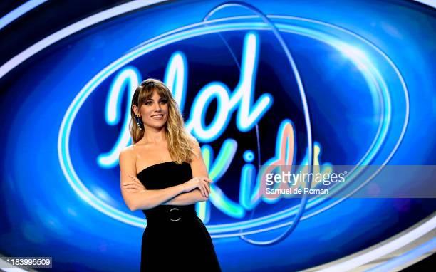 Spanish singer Edurne attends 'Idol Kids' Madrid Photocall on October 28 2019 in Madrid Spain
