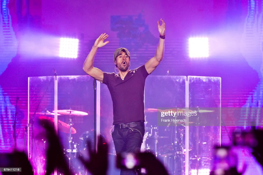 Spanish singer Enrique Iglesias performs live on stage during a