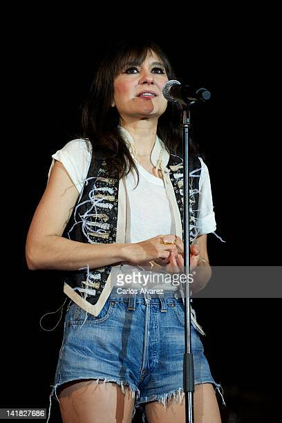 Spanish singer Eva Amaral of Amaral performs on stage during La noche de Cadena 100 concert at Madrid Arena stadium on March 24 2012 in Madrid Spain