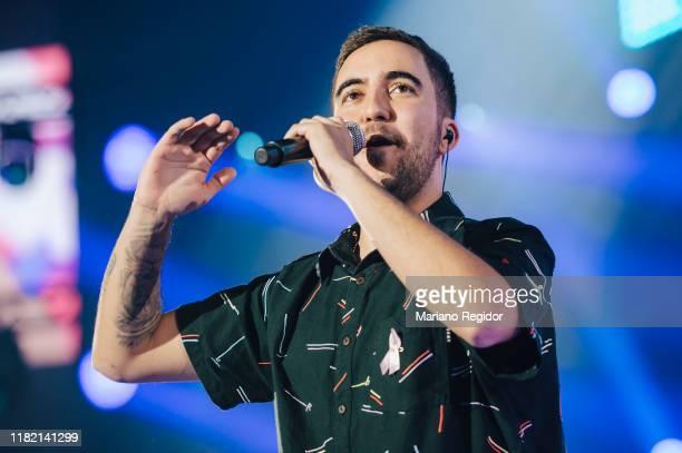 Spanish singer Francisco Javier Álvarez, a.k.a. Beret, performs onstage during 'Por Ellas' charity concert against breast cancer at WiZink Center on...