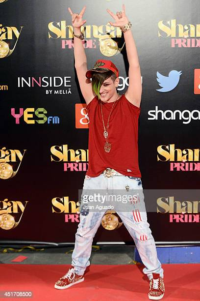 Spanish singer Garson attends the Shangay Pride Madrid Photocall 2014 at Vicente Calderon Stadium on July 4 2014 in Madrid Spain