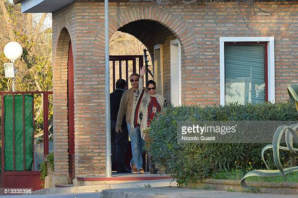 Spanish singer Isabel Pantoja with her brother Agustin Pantoja leaving the jail after getting the conditional release on March 2, 2016 in Alcala de...