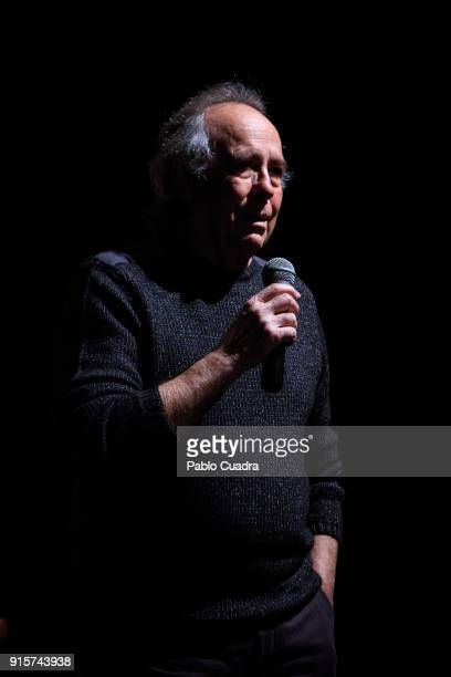 Spanish singer Joan Manuel Serrat presents 'Mediterraneo Da Capo' tour at 'Circulo de Bellas Artes' on February 8 2018 in Madrid Spain