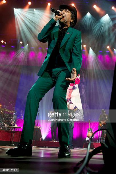 Spanish singer Joaquin Sabina perfoms on stage at Barclaycard Center on December 16 2014 in Madrid Spain