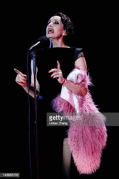 Spanish singer Luz Casal performs at the Poly Theatre on May 6th 2012 in Beijing China She will have another two concerts in Shanghai and in...