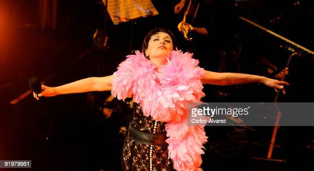 Spanish singer Luz Casal performs on stage at the Royal Theatre on October 18 2009 in Madrid Spain