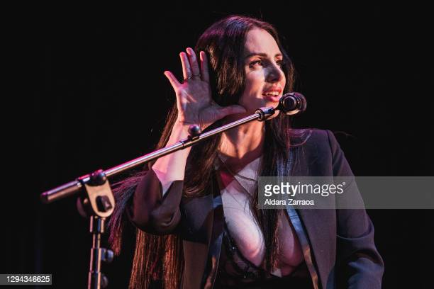 Spanish singer Mala Rodríguez performs on stage at Madrid Brillante Festival at Teatro La Latina on January 03, 2021 in Madrid, Spain.