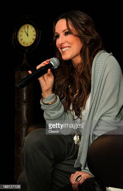 Spanish singer Malu talks during a press conference in the Sony Music auditorium on March 4 2013 in Mexico City Mexico