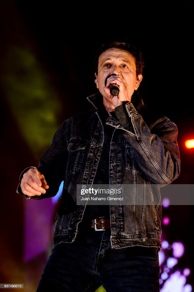 Spanish singer Manolo Garcia performs during 'La Noche De Cadena 100' charity concert at WiZink Center on March 24, 2018 in Madrid, Spain.