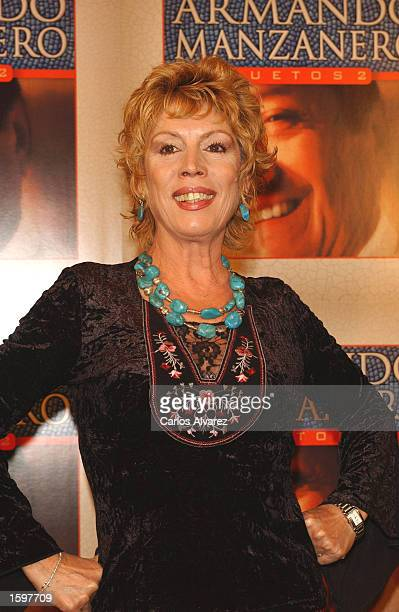 Spanish singer Maria Jimenez attends the presentation of a new album called Duetos by Mexican composer and singer Armando Manzanero at Gaviria Palace...