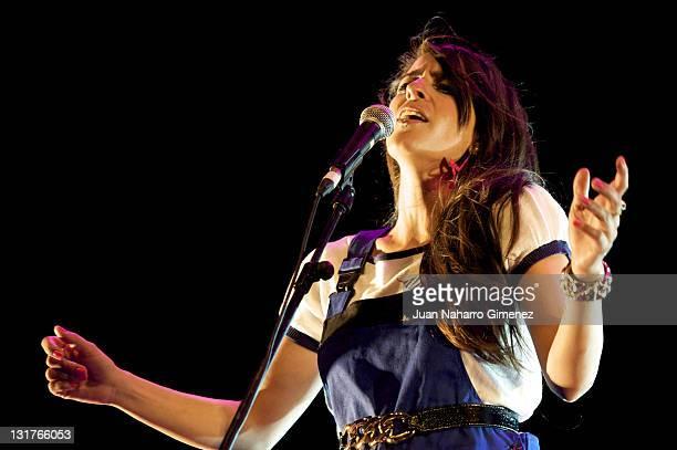 Spanish singer Maria Nieves Rebolledo aka Bebe performs in concert during 'Veranos de la Villa' festival at Escenario Puerta del Angel on July 8 2010...