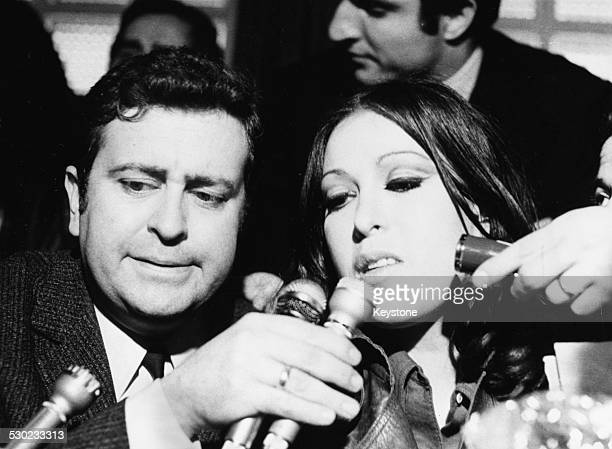 Spanish singer Massiel being interview by the press after winning the Eurovision Song Contest Madrid International Press Conference April 22nd 1968