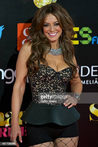 Spanish singer Merche attends the Shangay Pride concert at the Vicente Calderon stadium on July 4 2014 in Madrid Spain