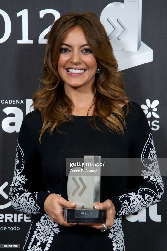 Spanish singer Merche holds her 'Cadena Dial' award during the Cadena Dial awards 2013 at the Adan Martin auditorium on March 13, 2013 in Tenerife, Spain.