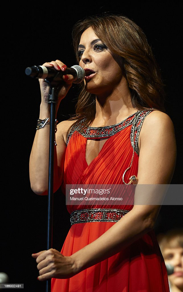 Spanish singer Merche performs live in Cadena Dial 'Lo Mejor De Aqui