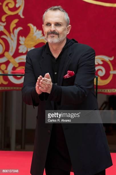 Spanish singer Miguel Bose receives the 'Medalla Internacional de las Artes de la Comunidad de Madrid' at the Casa de Correos on July 3 2017 in...