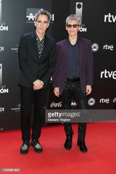 Spanish singer Mikel Erentxun and Argentinean singer Ariel Rot attend Odeon Awards 2020 at Royal Theater on January 20 2020 in Madrid Spain