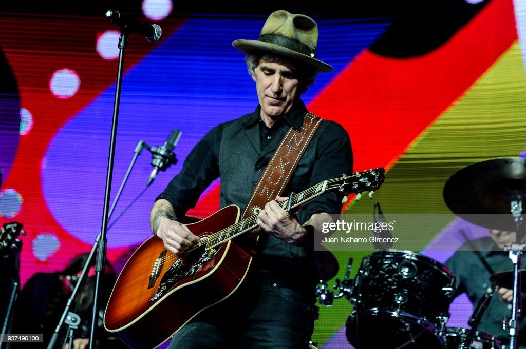 Spanish singer Mikel Erentxun performs during 'La Noche De Cadena 100' charity concert at WiZink Center on March 24, 2018 in Madrid, Spain.