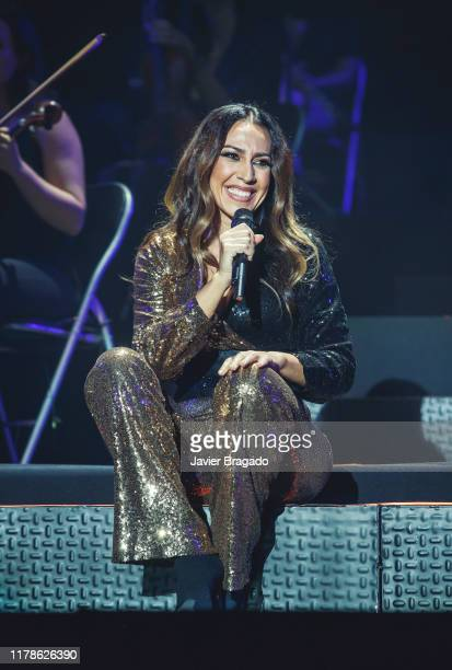 Spanish singer Monica Naranjo performs on stage to Celebrate the 25th Anniversary of her first album at WiZink Center on October 02 2019 in Madrid...