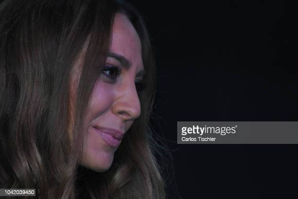 Spanish singer Monica Naranjo speaks during a press conference to present the reality show 'Monica y el sexo' on September 21 2018 in Mexico City...