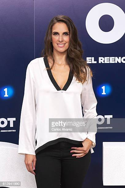 Spanish singer Nuria Fergo attends 'OT 1 El Reencuentro' televison talent show at TVE studios on October 6 2016 in Madrid Spain