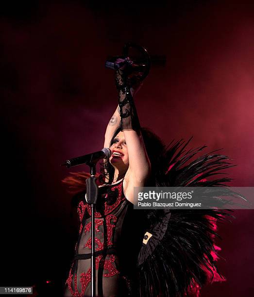 Spanish singer Olvido Gara aka 'Alaska' of Fangoria performs live in concert at Palacio de los Deportes on May 13 2011 in Madrid Spain