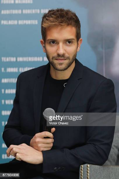 Spanish singer Pablo Alboran attends a press conference to promote his new tour Prometo at St Regis Hotel on November 23 2017 in Mexico City Mexico