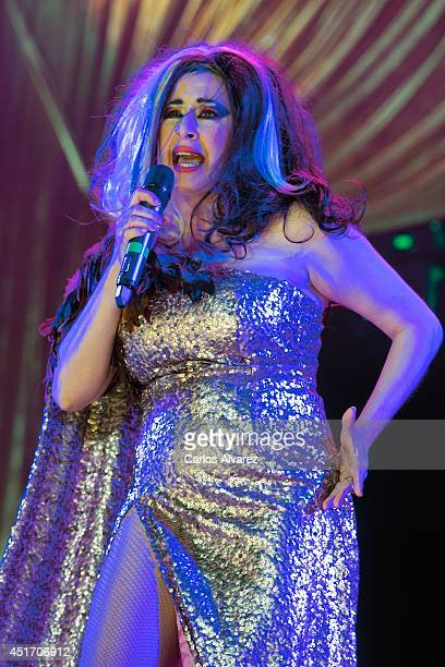Spanish singer Pepa Charro 'La Terrmoto de Alcorcon' performs on stage during the Shangay Pride concert at the Vicente Calderon stadium on July 4...
