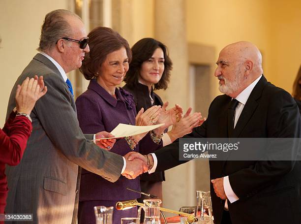 Spanish singer Pere Pubill Calaf Peret receives Spain's Gold Medal of Merit in Fine Arts 2010 from Spain's King Juan Carlos of Spain Queen Sofia of...