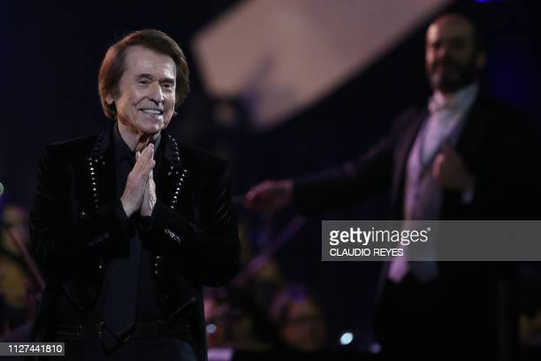 Spanish singer Raphael performs during the 60th Vina del Mar International Song Festival in Vina del Mar Chile on February 25 2019