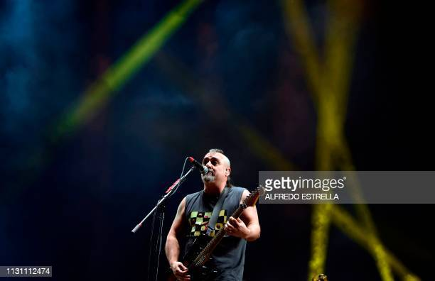 Spanish singer Roberto Ganan aka Pulpul of the band SkaP performs during the first day of the 'Vive Latino' music festival in Mexico City on March 16...