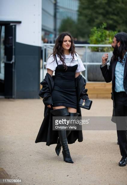 Spanish singer Rosalía is seen outside Burberry during London Fashion Week September 2019 on September 16, 2019 in London, England.