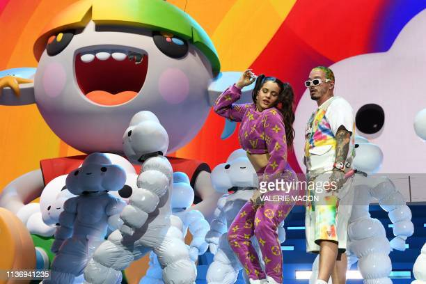 Spanish singer Rosalia and Colombian singer J Balvin perform on stage at the Coachella Valley Music and Arts Festival on April 13 in Indio California