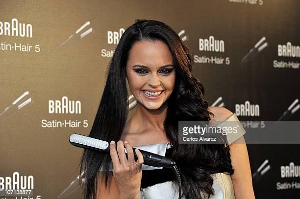 Spanish singer Shaila Durcal presents new Braun SatinHair 5 on November 25 2010 in Madrid Spain