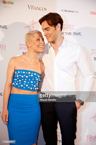Spanish singer Soraya Amelas and model Miguel Angel pose on the red carpet of New Generation by Francina on June 11, 2013 in Barcelona, Spain.