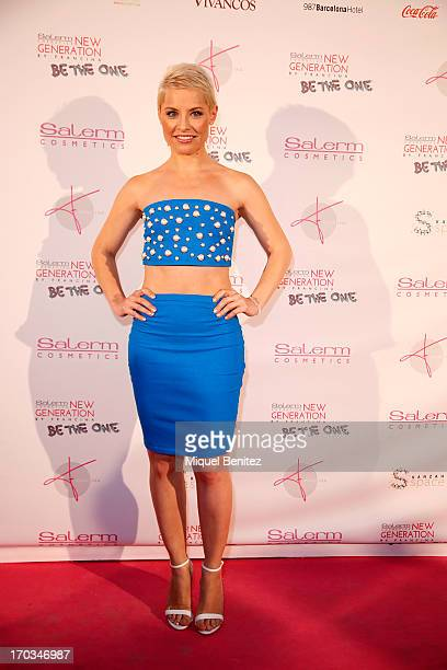 Spanish singer Soraya Amelas poses on the red carpet of New Generation by Francina on June 11 2013 in Barcelona Spain