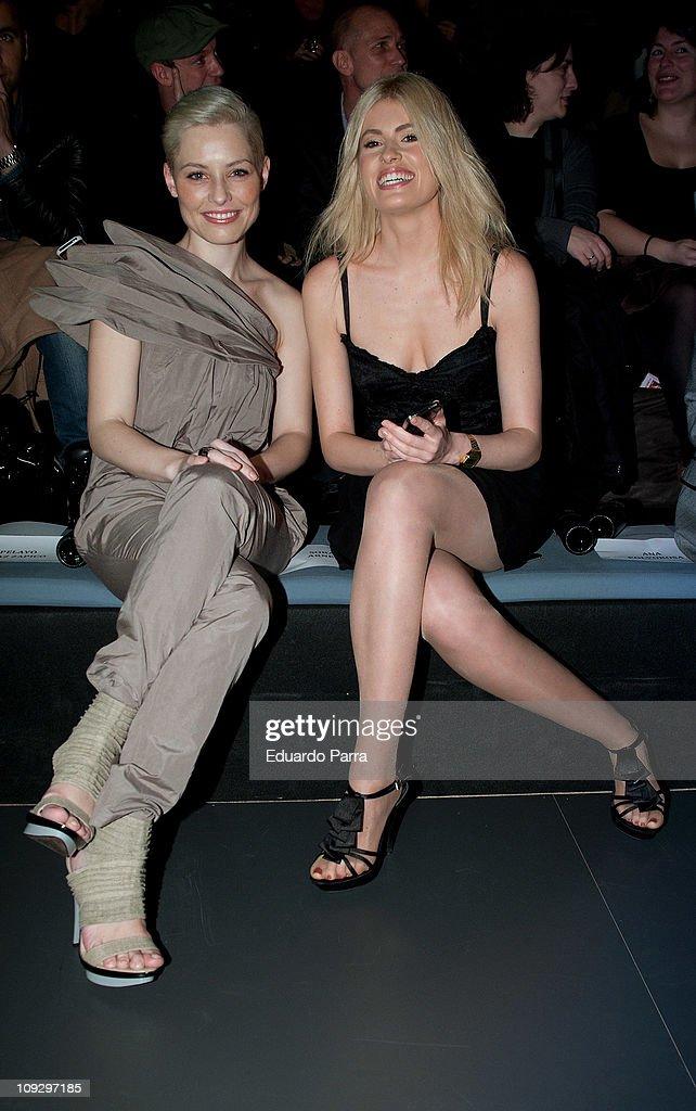 Spanish singer Soraya Arnelas (L) and Adriana Abenca attend the Agatha Ruiz de la Prada fashion show during the Cibeles Madrid Fashion Week A/W 2011 at Ifema on February 19, 2011 in Madrid, Spain.