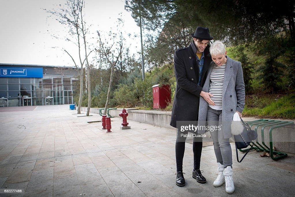 Spanish singer Soraya Arnelas (R) and boyfriend Miguel Herrera (L) pose for a portrait during FIMI, Feria Internacional de Moda Infantil, at 'Palacio de Cristal' on January 21, 2017 in Madrid, Spain.