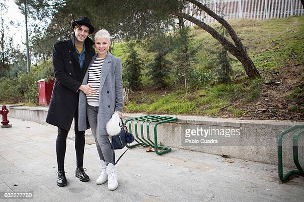 Spanish singer Soraya Arnelas and boyfriend Miguel Herrera pose for a portrait during FIMI Feria Internacional de Moda Infantil at 'Palacio de...