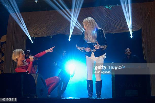 Spanish singer Soraya Arnelas and Italian singer Spagna perform on stage during the Shangay Pride concert at the Vicente Calderon stadium on July 4...