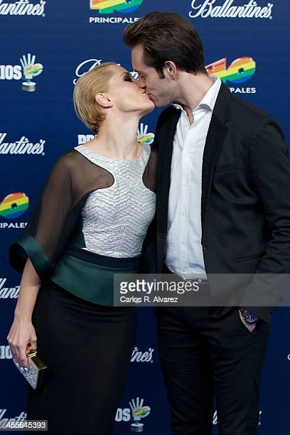 Spanish singer Soraya Arnelas and Miguel Herrera attend the '40 Principales Awards' 2013 photocall at Palacio de los Deportes on December 12 2013 in...