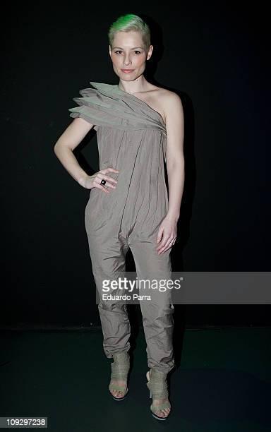 Spanish singer Soraya Arnelas attends the Agatha Ruiz de la Prada fashion show during the Cibeles Madrid Fashion Week A/W 2011 at Ifema on February...