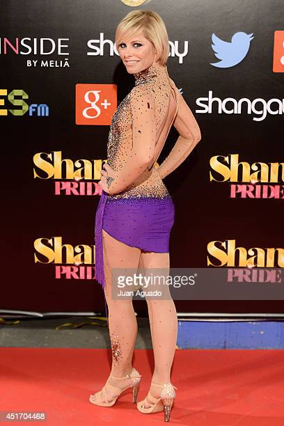 Spanish singer Soraya Arnelas attends the Shangay Pride Madrid Photocall 2014 at Vicente Calderon Stadium on July 4 2014 in Madrid Spain