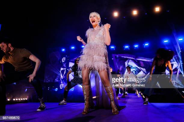 Spanish singer Soraya Arnelas performs during 'La Noche De Cadena 100' charity concert at WiZink Center on March 24 2018 in Madrid Spain