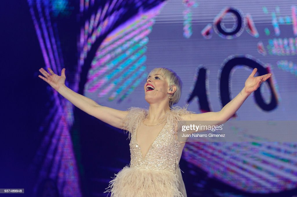 Spanish singer Soraya Arnelas performs during 'La Noche De Cadena 100' charity concert at WiZink Center on March 24, 2018 in Madrid, Spain.